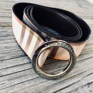 Burberry pink plaid leather belt